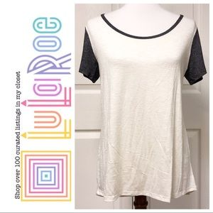 LULAROE SOLID WHITE CLASSIC TEE WITH GRAY SLEEVES